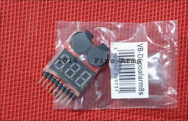 8Fields 1S / 8S einstellbarer Lipo Akku Volt Monitor und Alarmsummer
